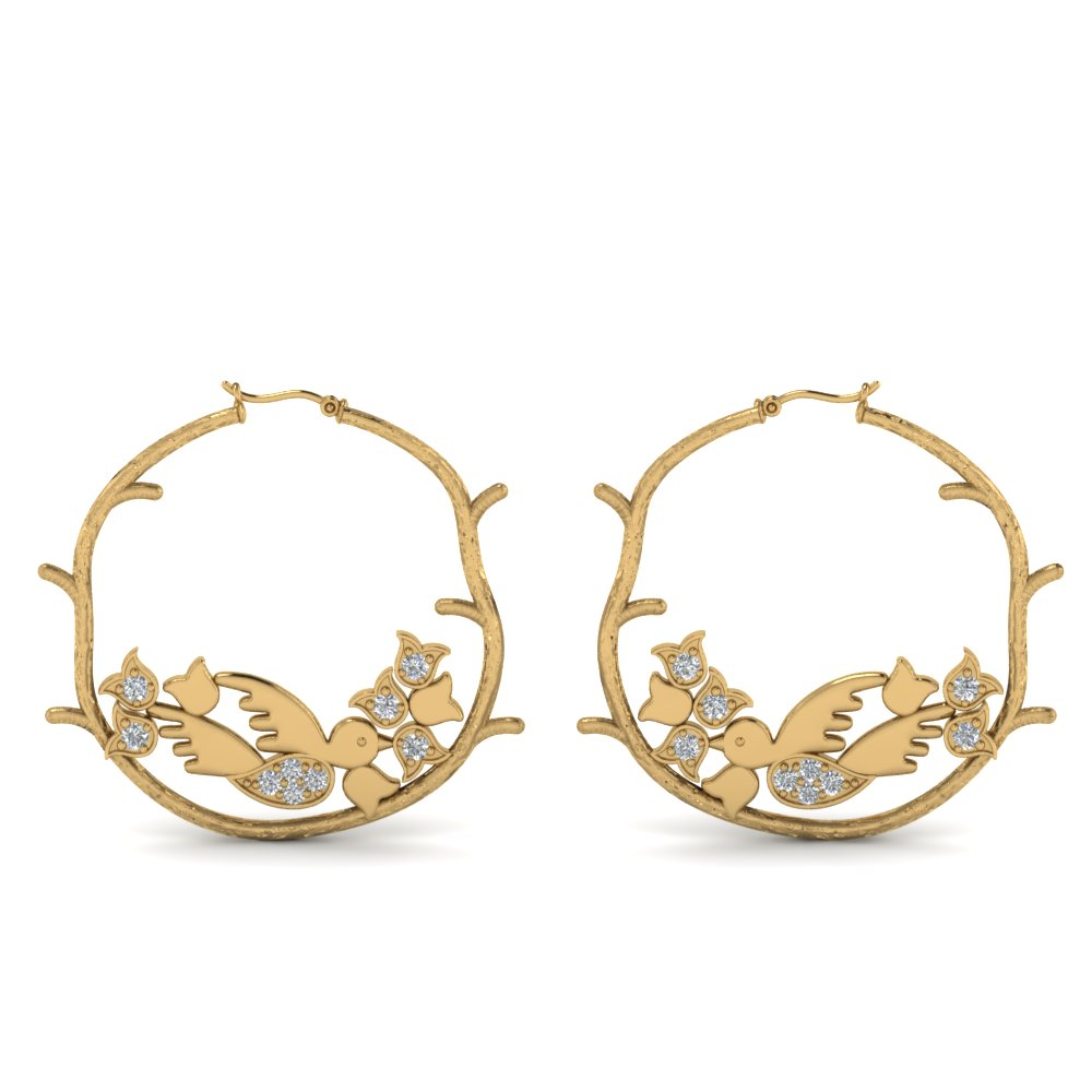 branch bird hoop diamond earring in 14K yellow gold FDEAR8861ANGLE1 NL YG