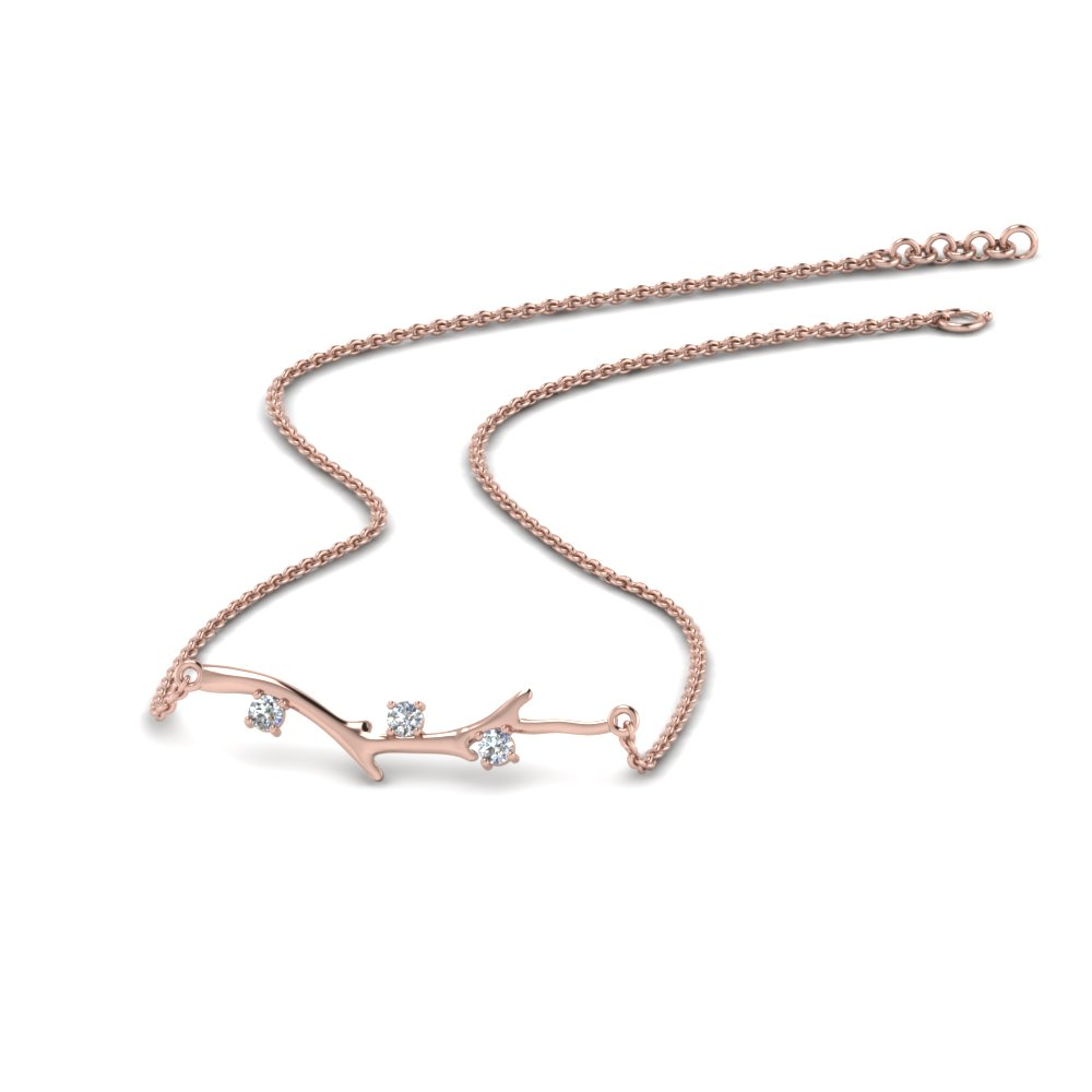 branch design diamond necklace in 14K rose gold FDPD86271ANGLE3 NL RG