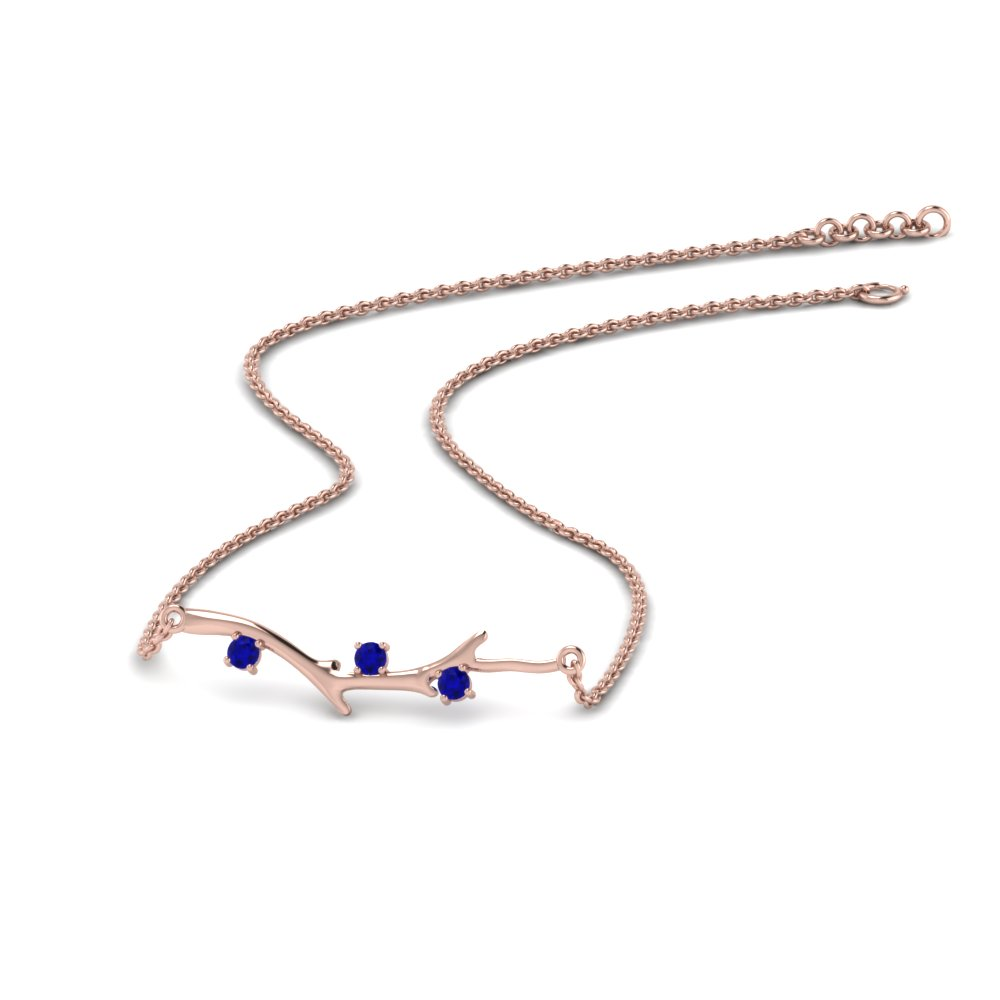 branch design diamond necklace with blue sapphire in 14K rose gold FDPD86271GSABLANGLE3 NL RG