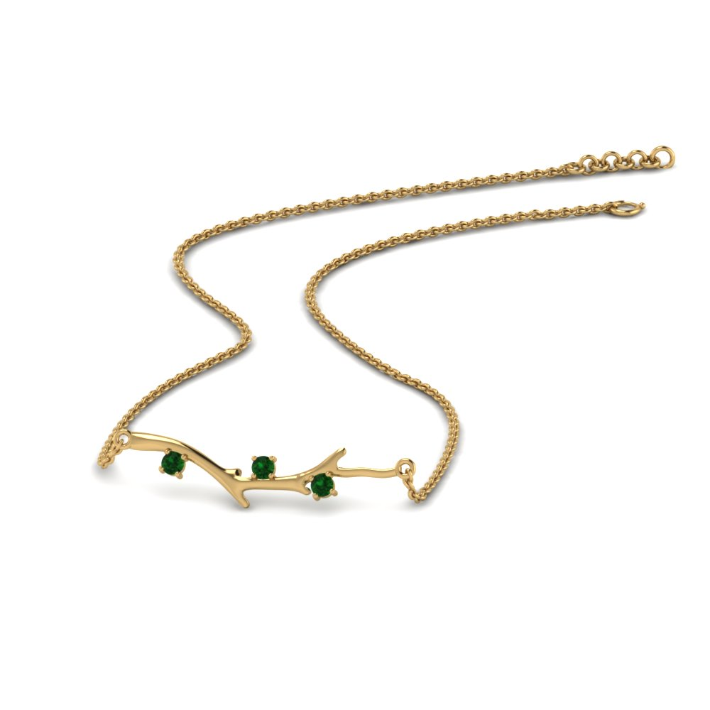branch design necklace emerald in FDPD86271GEMGRANGLE3 NL YG