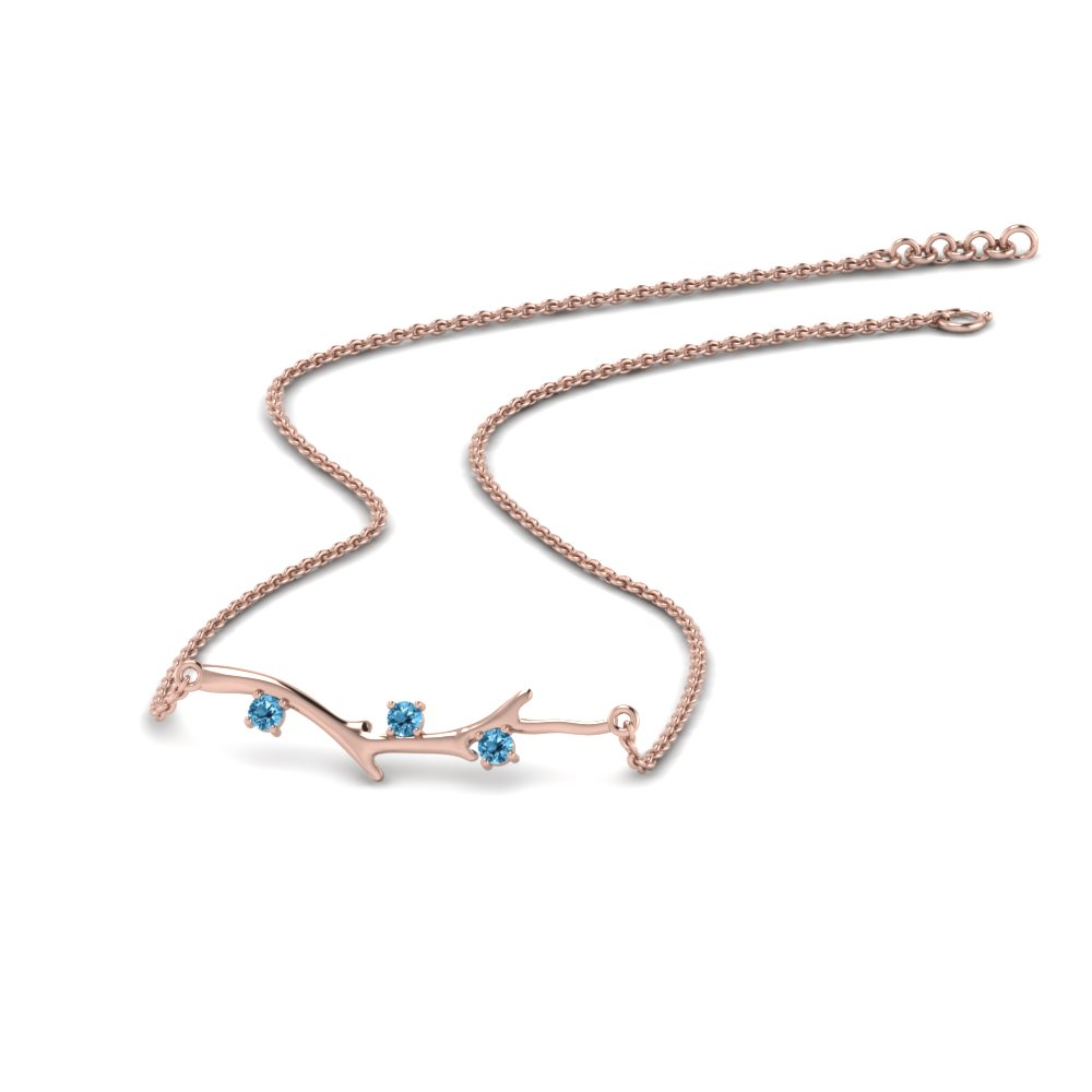 Branch Design Blue Topaz Necklace
