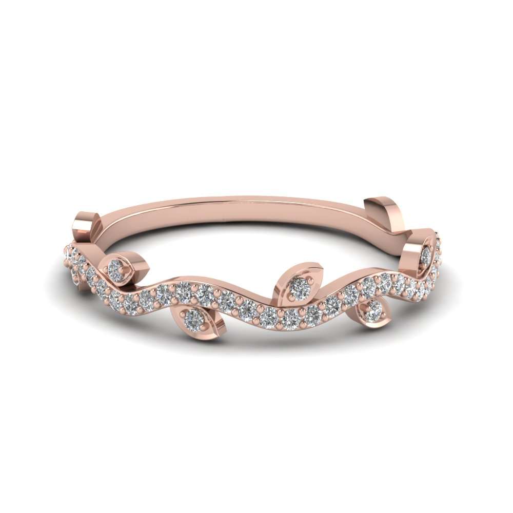 Pink Gold Tree Branch Style Wedding Band