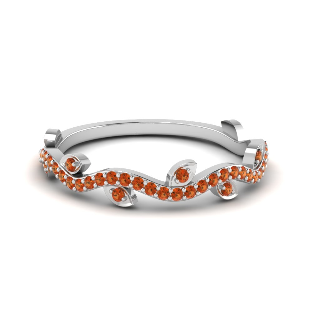 branch design gemstone band for women with orange sapphire in FD122916GSAOR NL WG GS