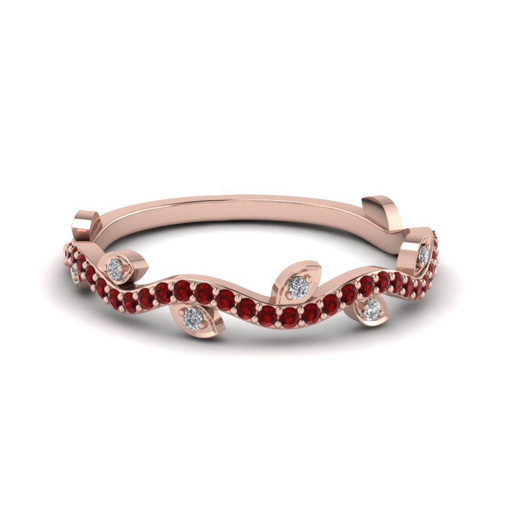 Branch Design Gift Wedding Ring With Ruby In 18K Rose Gold ...