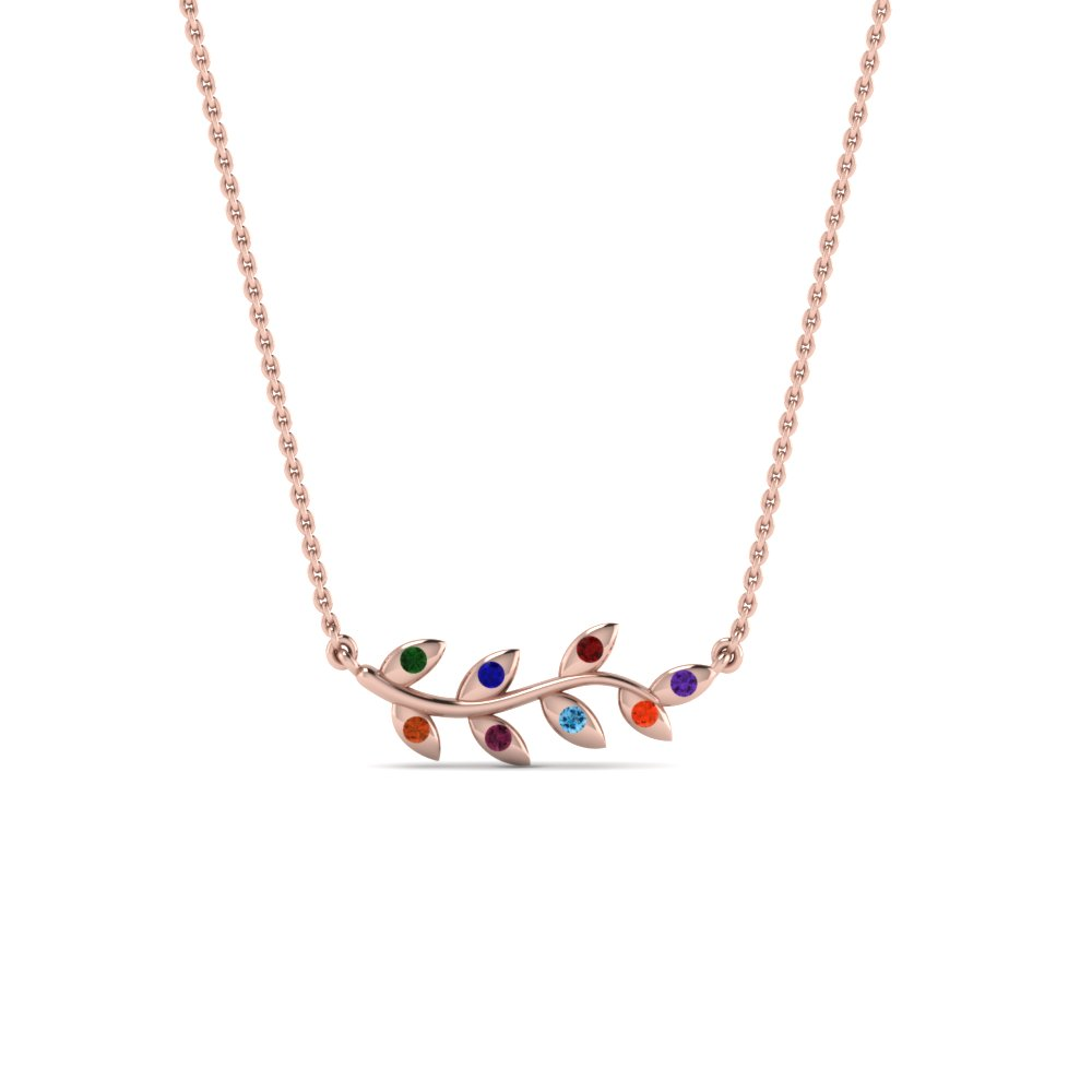 Branch Style Necklace With Gemstone