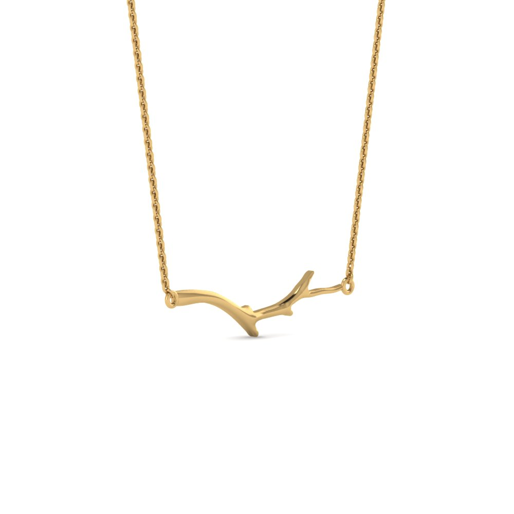 branch nature inspired necklace pendant in 14K yellow gold FDPD86311ANGLE1 NL YG