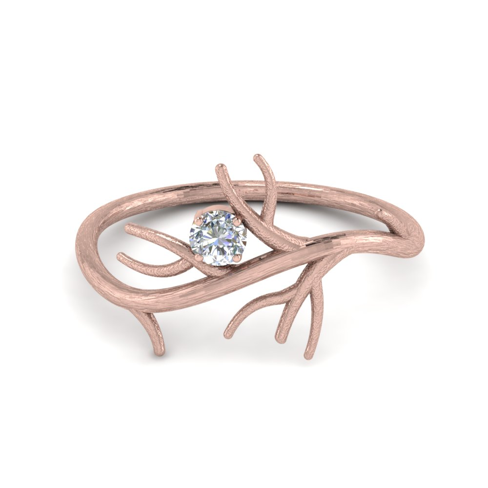 branch solitaire wedding diamond ring in 14K rose gold FD8618ROR NL RG
