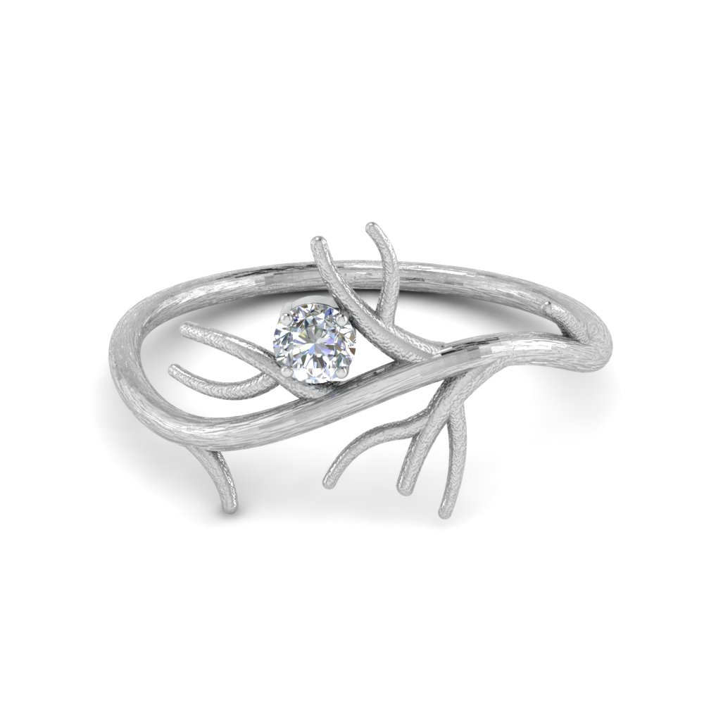 branch solitaire wedding diamond ring in 14K white gold FD8618ROR NL WG