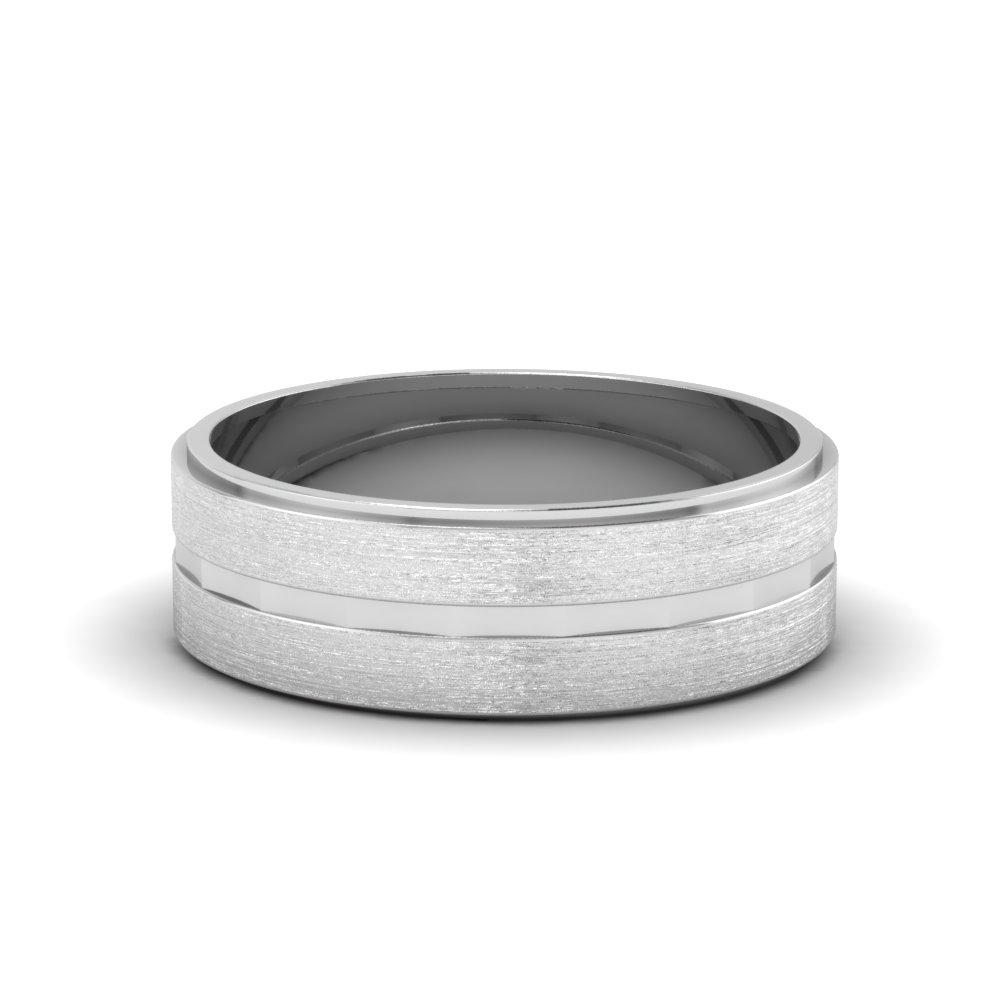 White Gold Matte Finish Wedding Band For Him