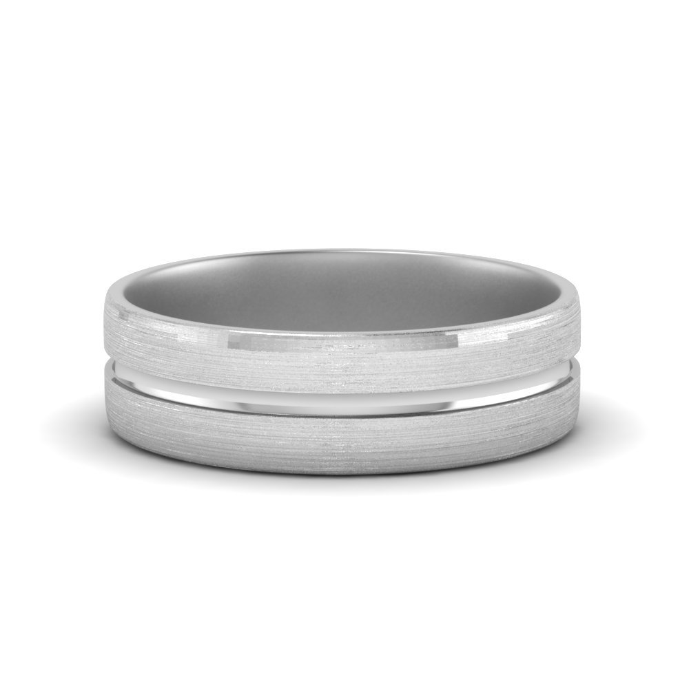 brushed mens wedding band in 14K white gold FDM8567B NL WG
