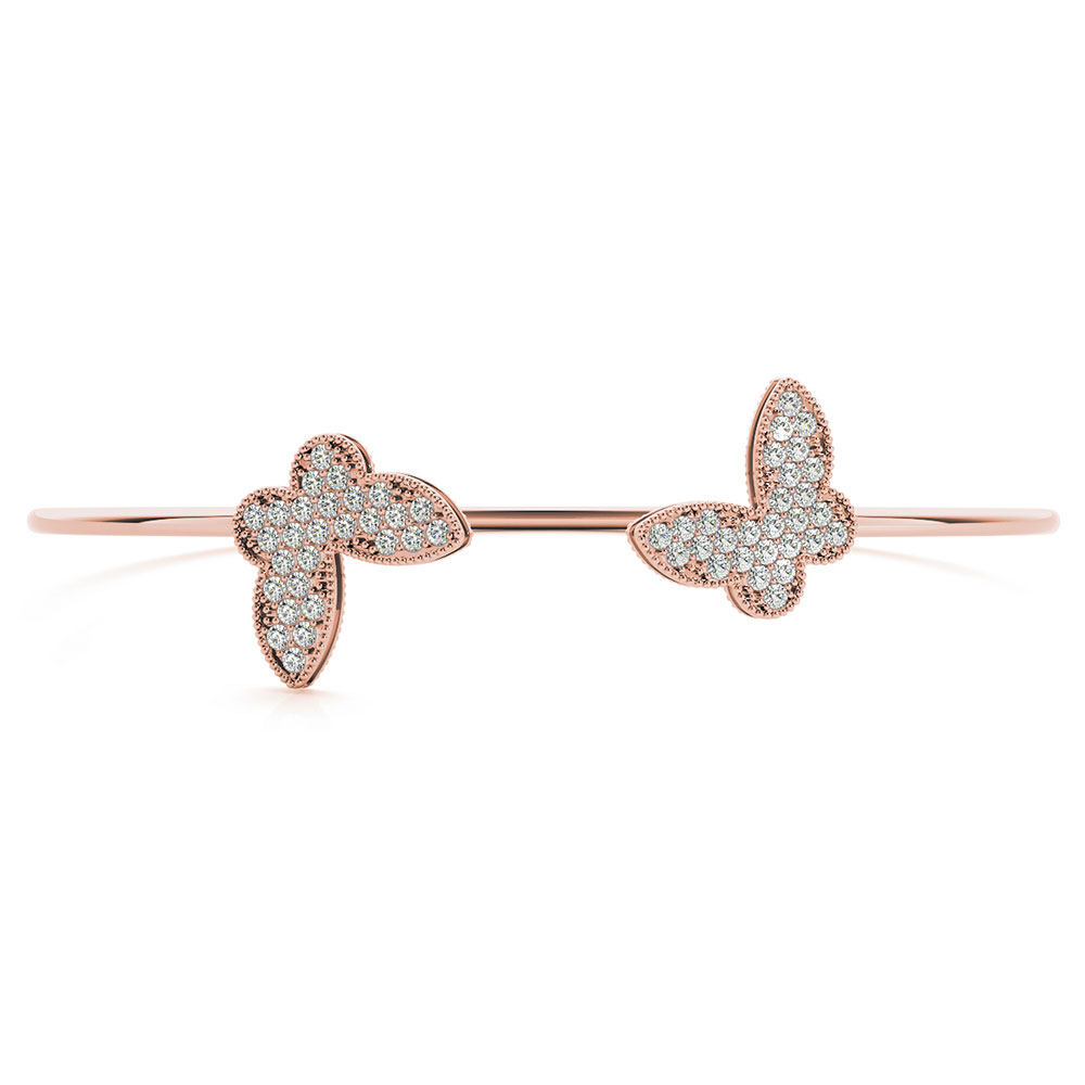 Butterfly Style Pink Gold Bracelet For Her