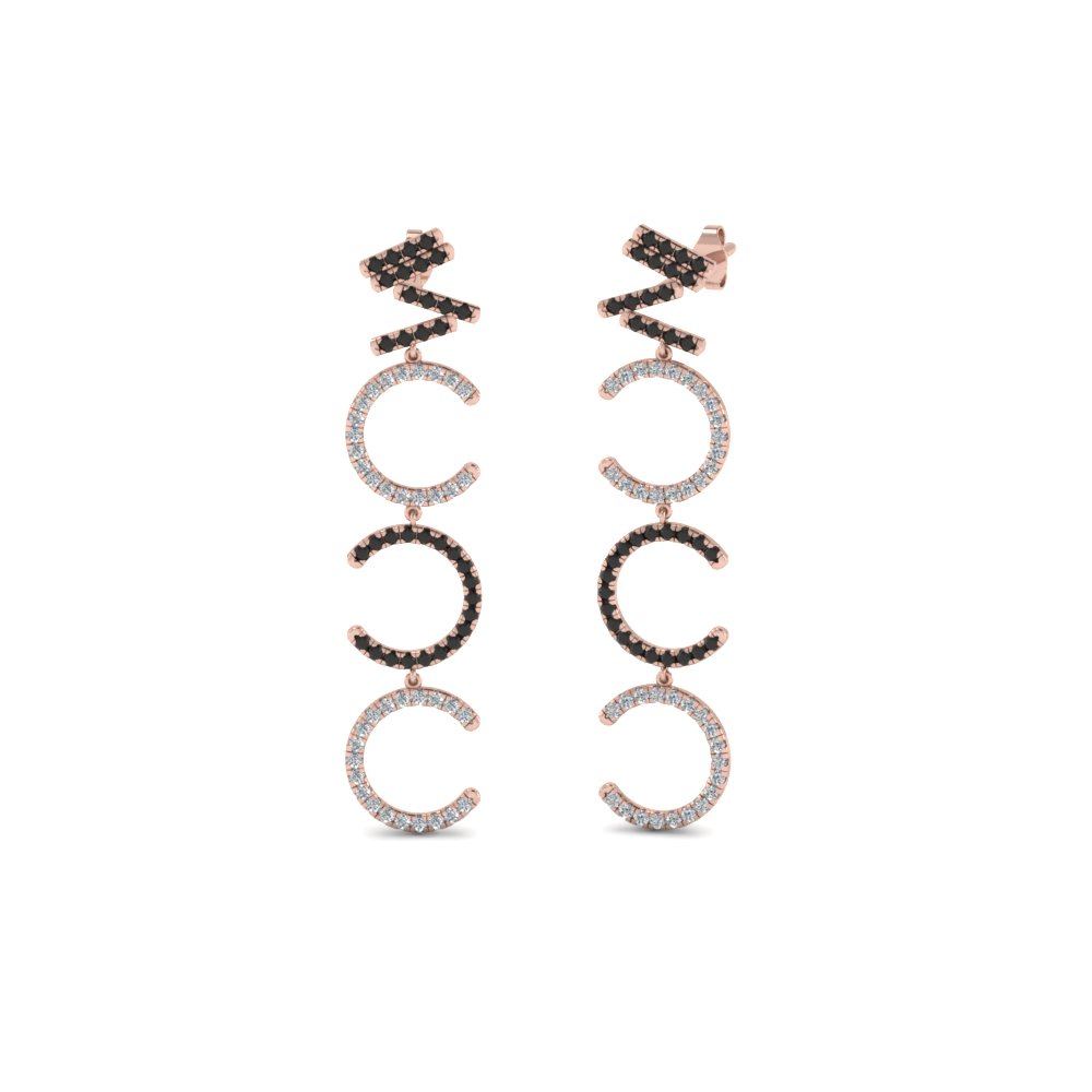Cascade Earring For Women With Black Diamond In 14K Rose Gold