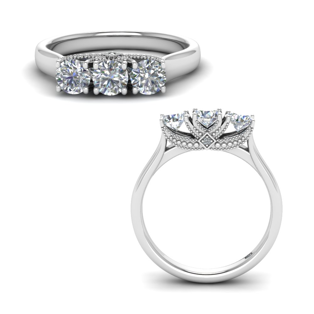 Cathedral 3 Stone Trellis Ring