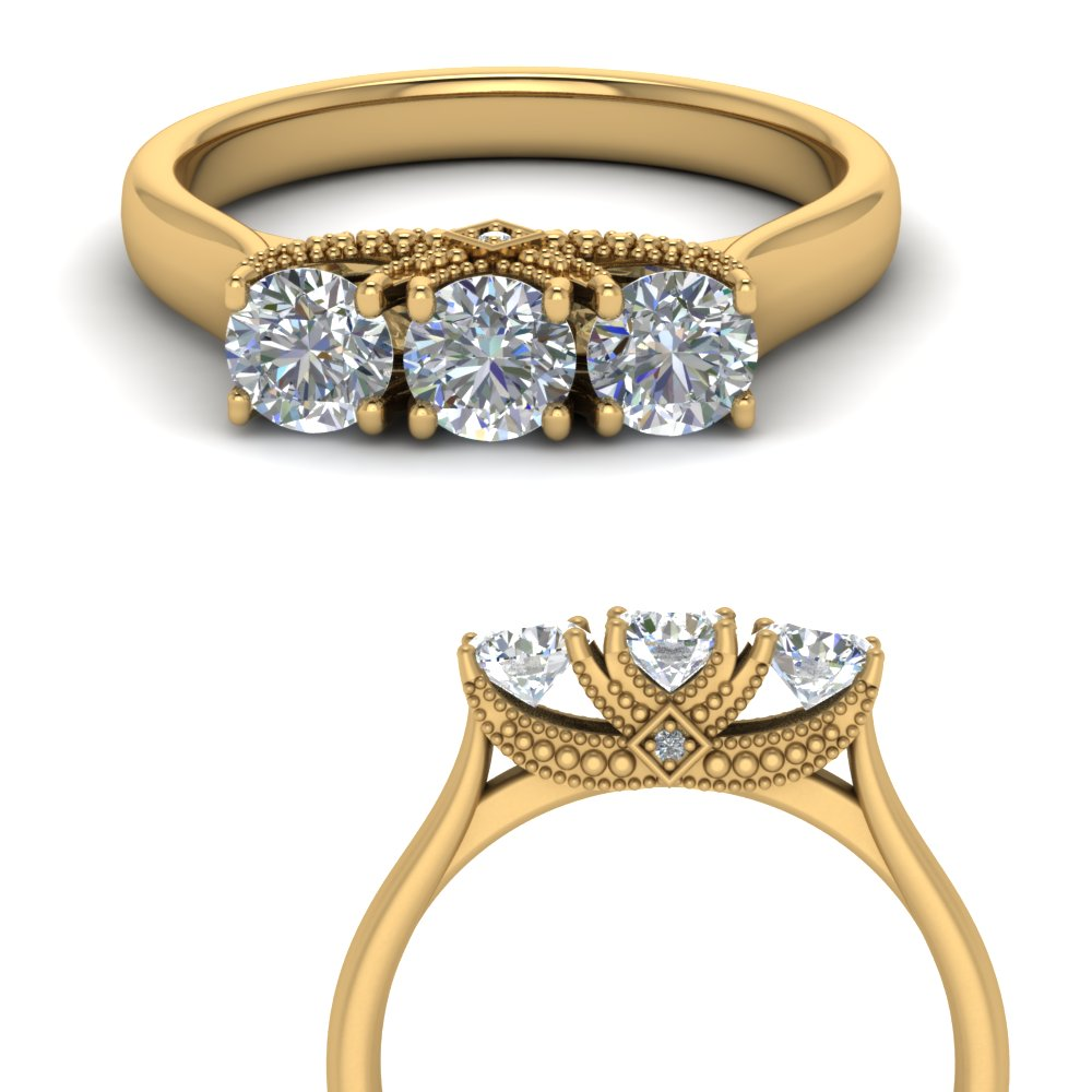Trellis 3 Stone Cathedral Ring