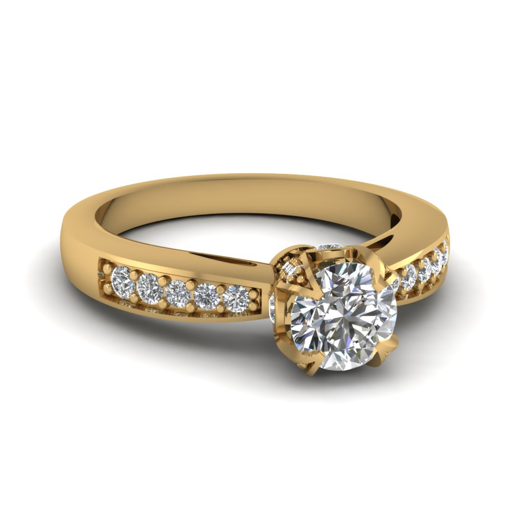 Stone Diamond Ring In Yellow Gold