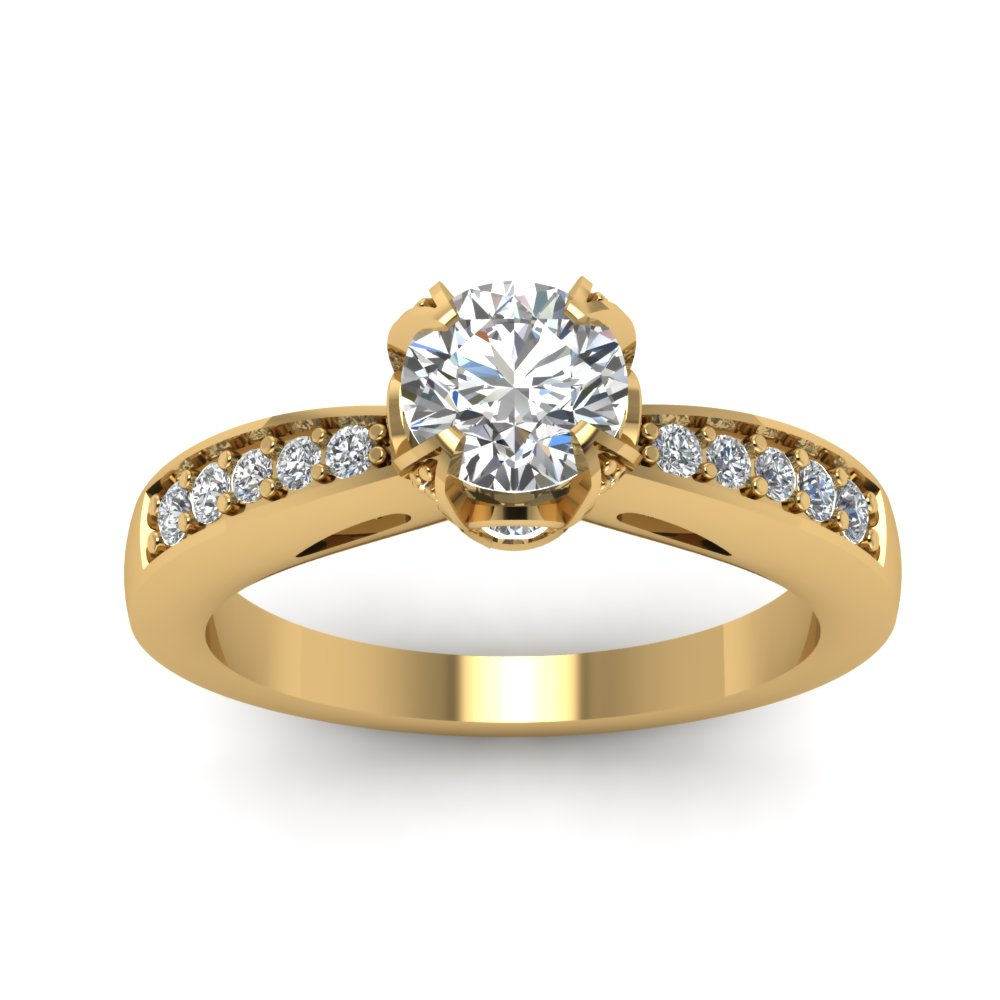 Cathedral Crown Set Round Cut Womens Wedding Diamond Ring In 14K