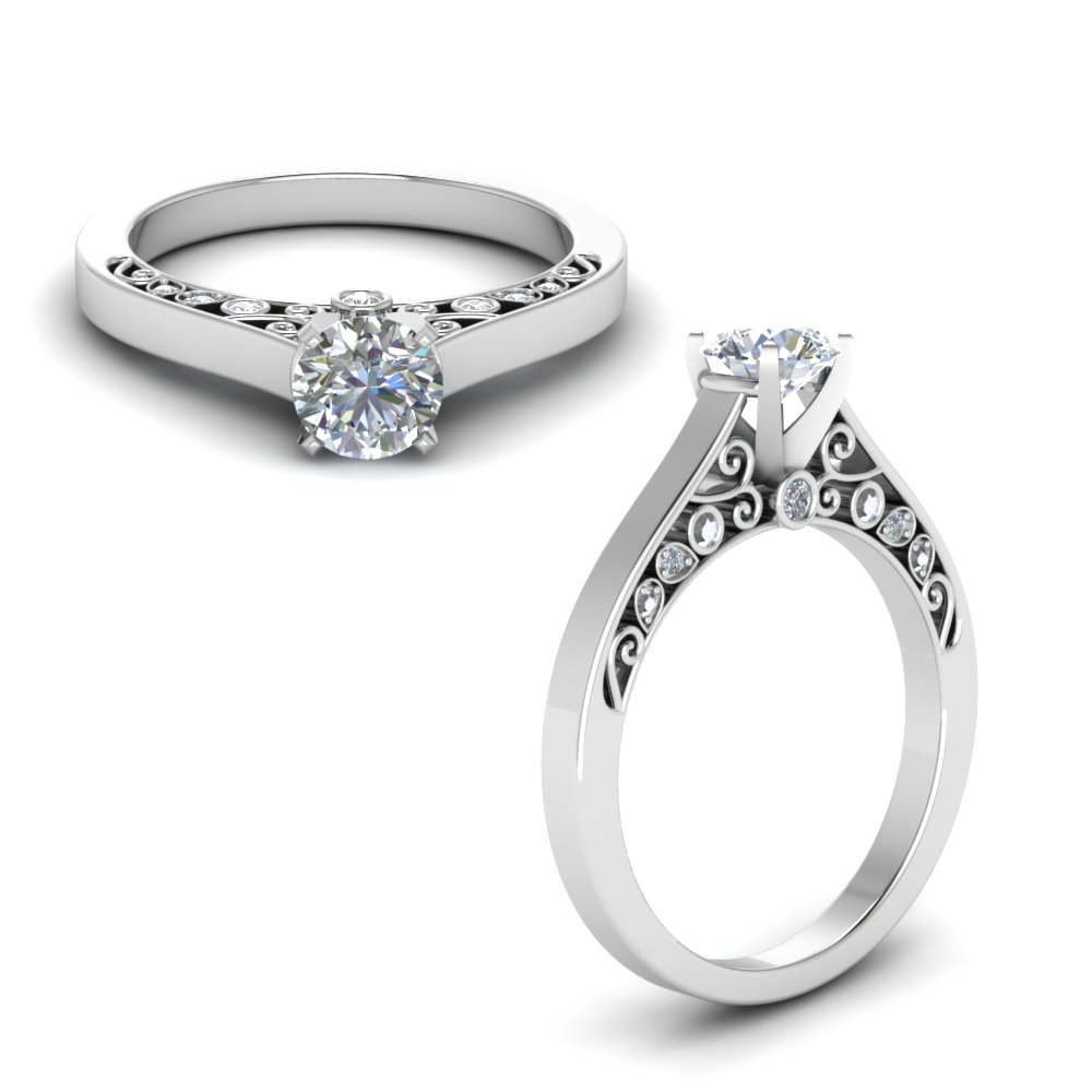 pave rings gold cathedral diamond white ring engagement