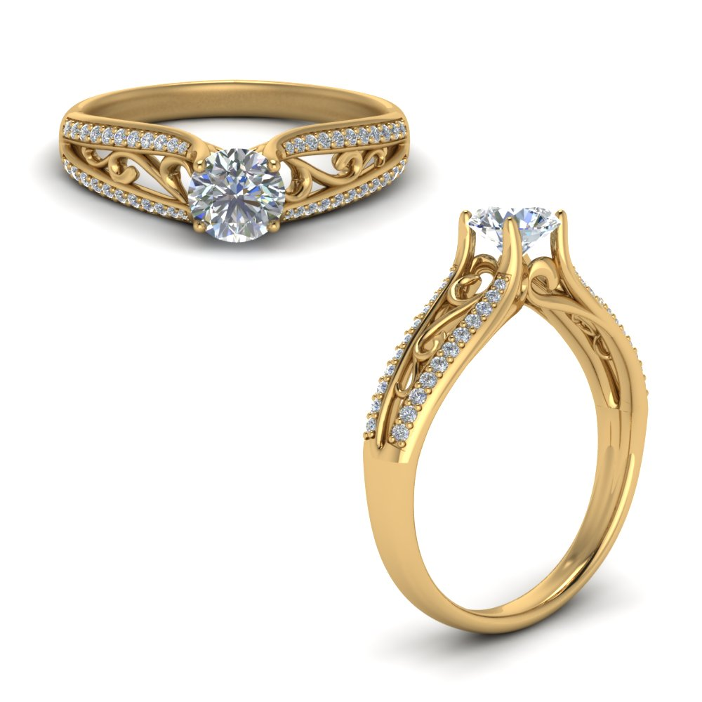 cathedral filigree diamond engagement ring in FD122032RORANGLE1 NL YG