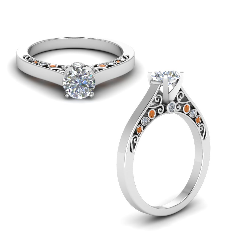cathedral filigree diamond engagement ring with orange sapphire in FD8625RORGSAORANGLE1 NL WG.jpg