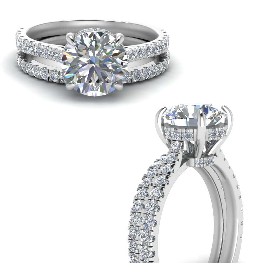 cathedral hidden halo diamond wedding ring set in FD9128ROANGLE3 NL WG