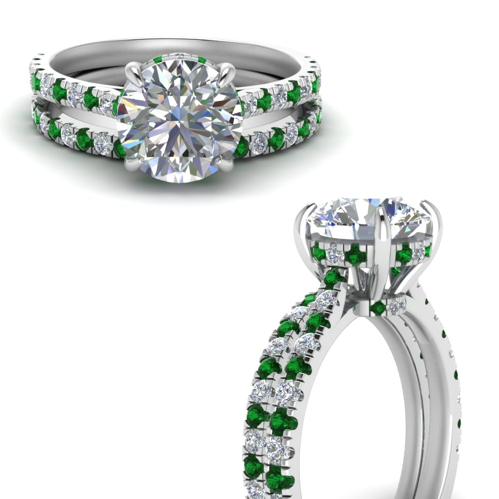900193f9cba cathedral hidden halo diamond wedding ring set with emerald in  FD9128ROGEMGRANGLE3 NL WG.jpg