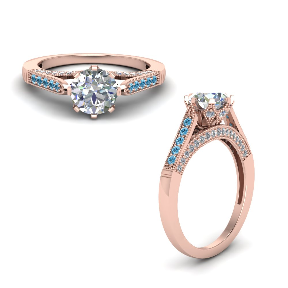 Rose Gold Topaz Engagement Rings