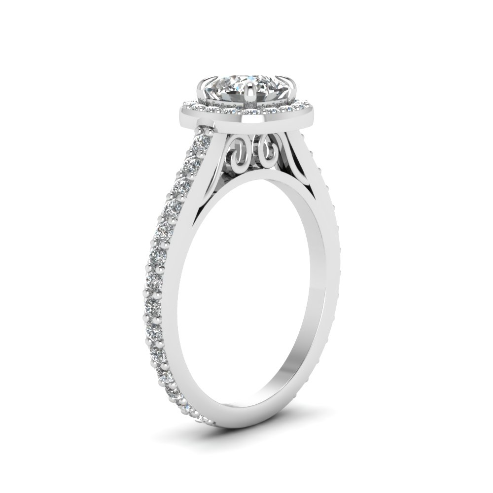 Cathedral Cushion Cut Halo Ring