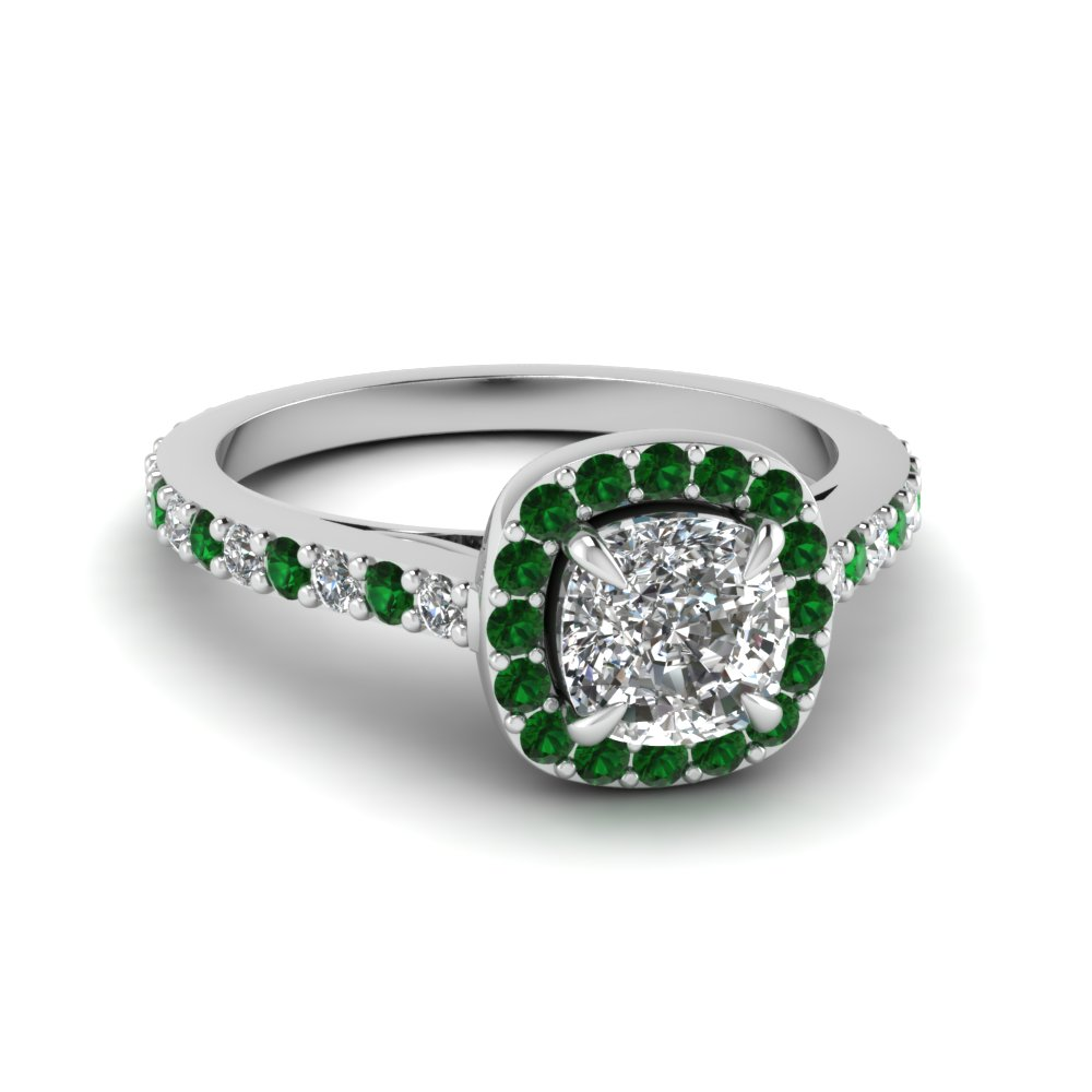 Halo Vintage Emerald Ring