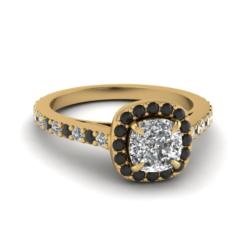 18k yellow gold black diamond vintage engagement rings