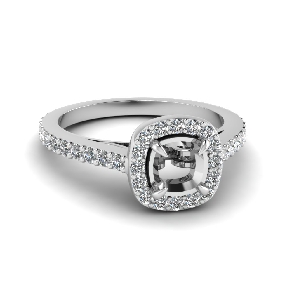 Cathedral Cushion Cut Halo Ring Setting