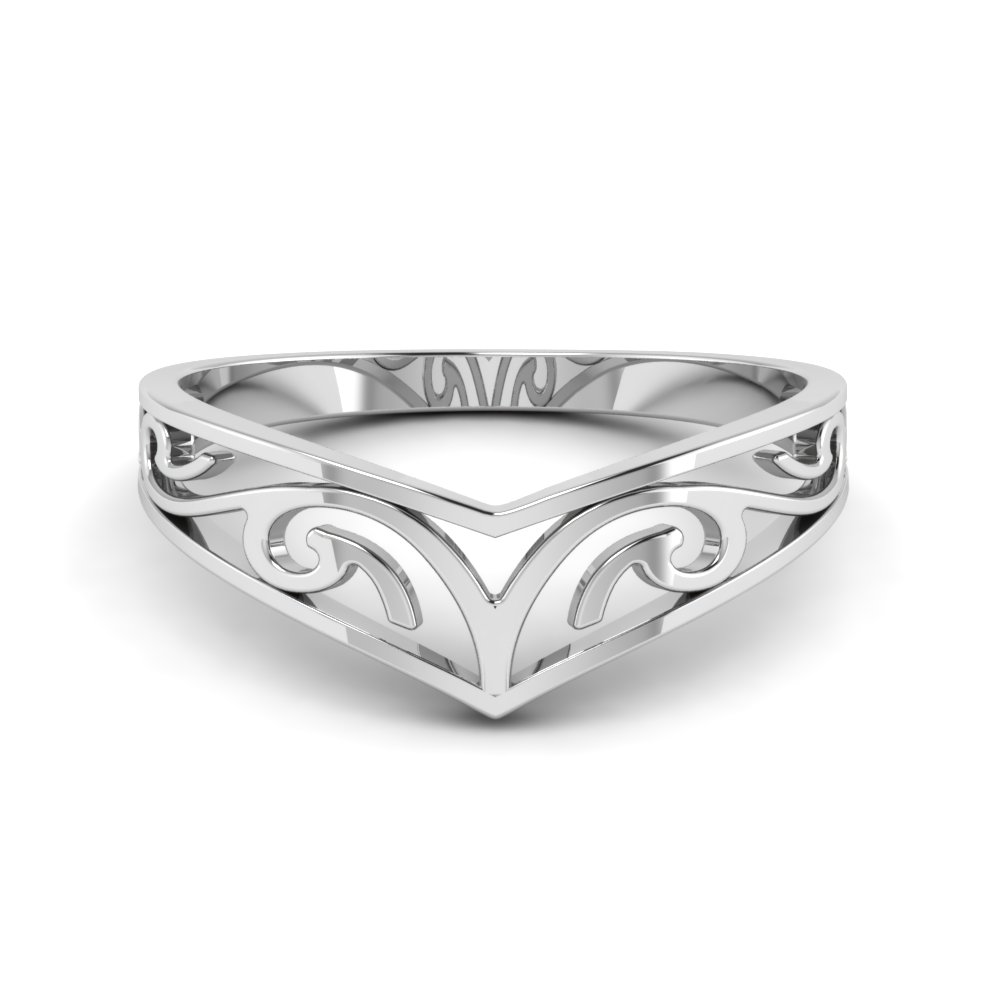 celtic curved wedding band filigree in FD8486R NL WG