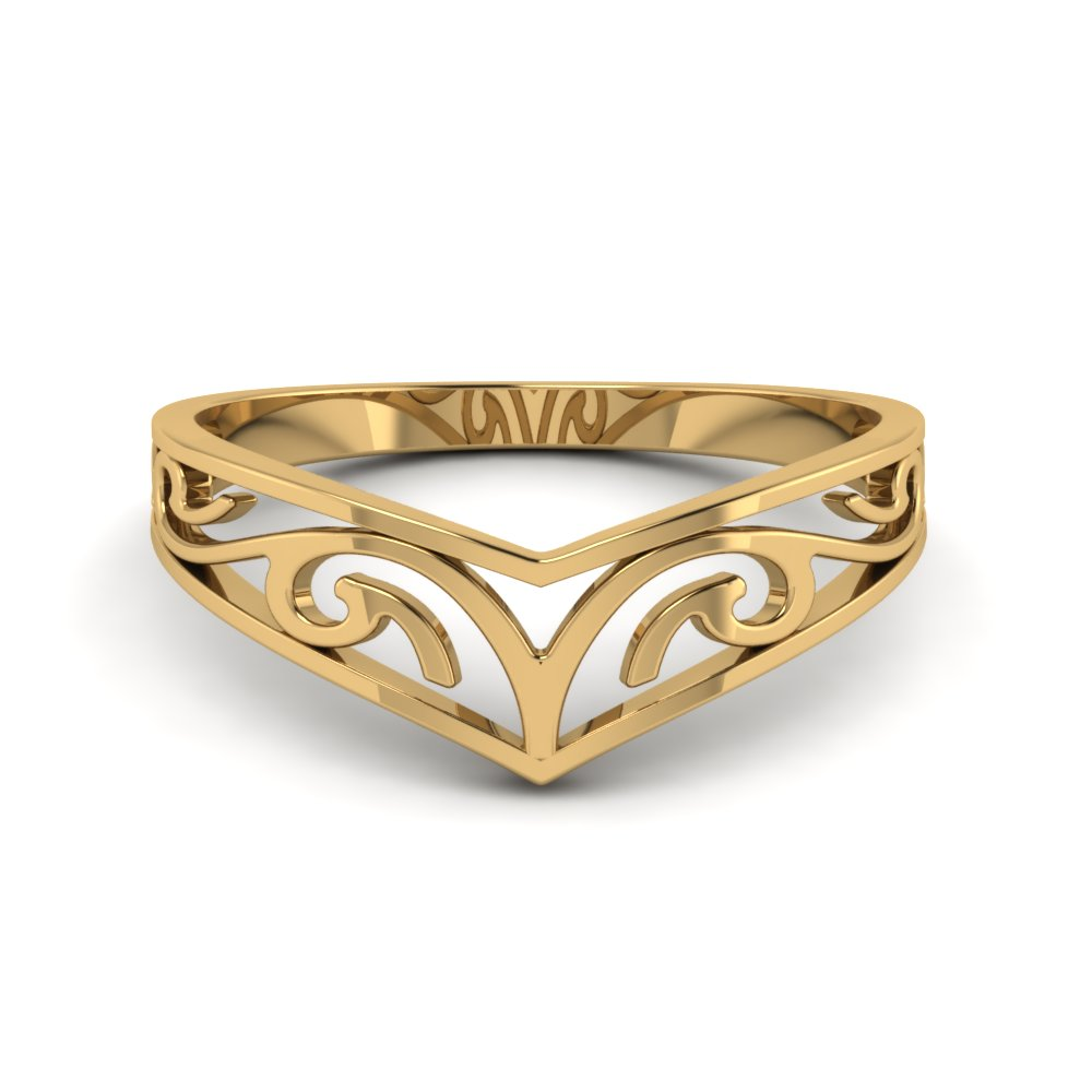celtic curved wedding band filigree in FD8486R NL YG