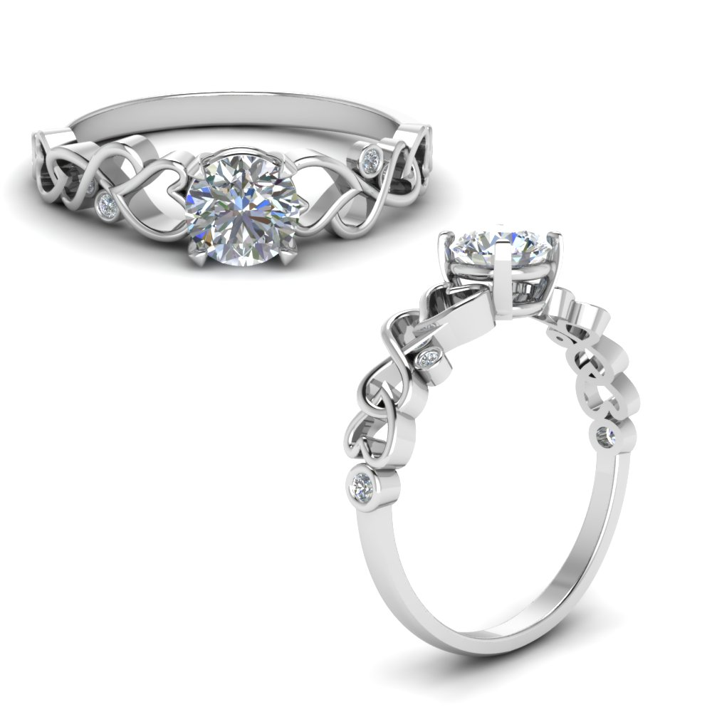 intertwined filigree round cut diamond engagement ring in FD8604RORANGLE1 NL WG