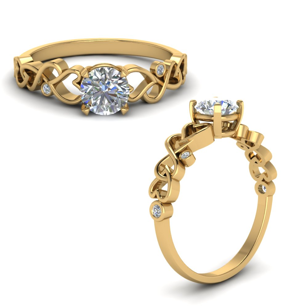 intertwined filigree round cut diamond engagement ring in FD8604RORANGLE1 NL YG