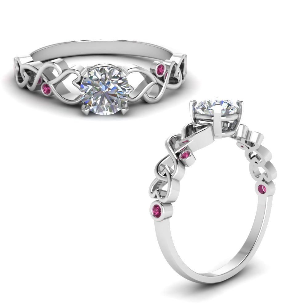 intertwined filigree round cut lab diamond engagement ring with pink sapphire in FD8604RORGSADRPIANGLE1 NL WG