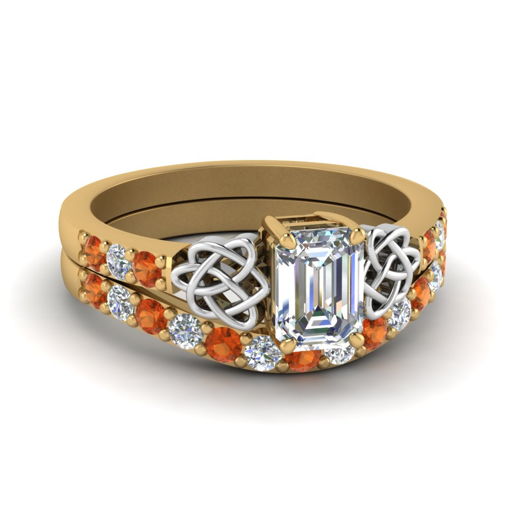 celtic emerald cut diamond wedding ring set with orange sapphire in FDENS2255B1EMGSAOR NL YG.jpg