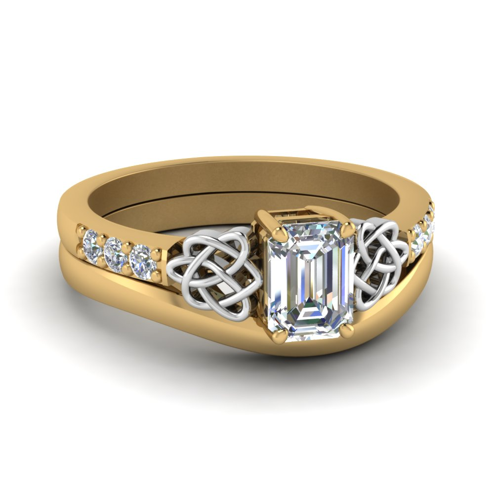 Celtic Knot Emerald Cut Ring Set