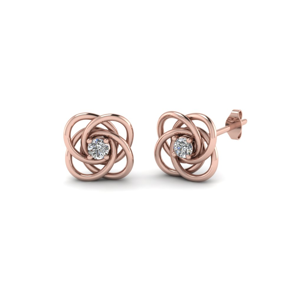 celtic knot round diamond stud earrings for women in 14K rose gold FDOEAR40006 NL RG