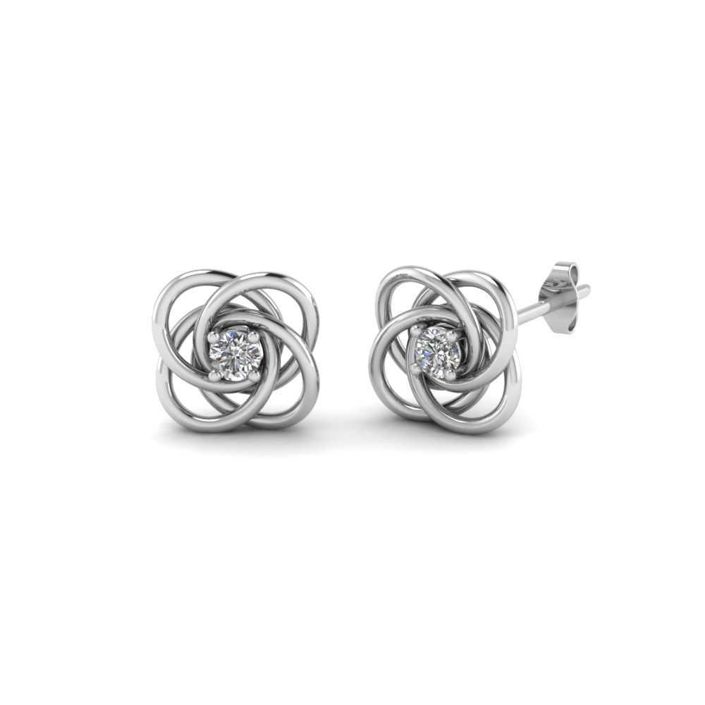 Celtic Knot Diamond Stud Earring In Fdoear40006 Nl Wg