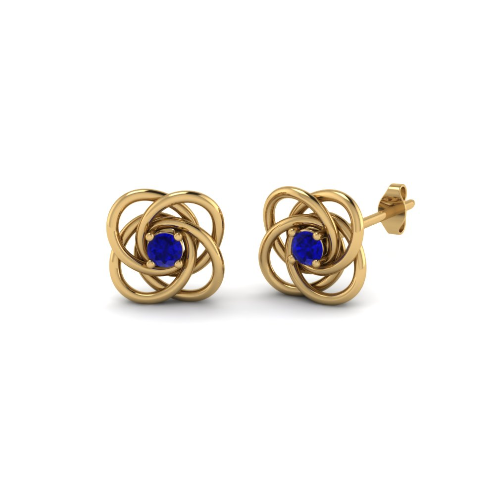 Celtic Knot Round Diamond Stud Earrings For Women With Blue Sapphire In 14K Yellow Gold