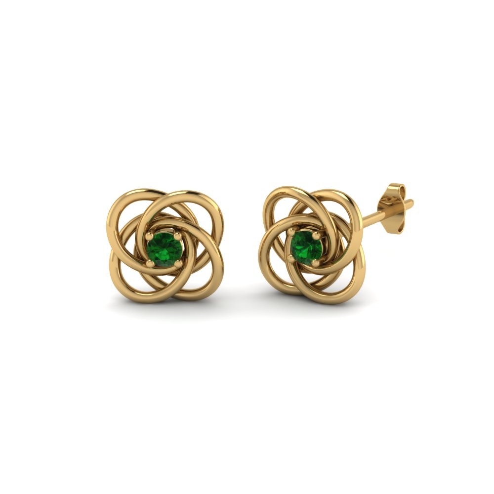 Celtic Knot Round Diamond Stud Earrings For Women With Emerald In 14K Yellow Gold