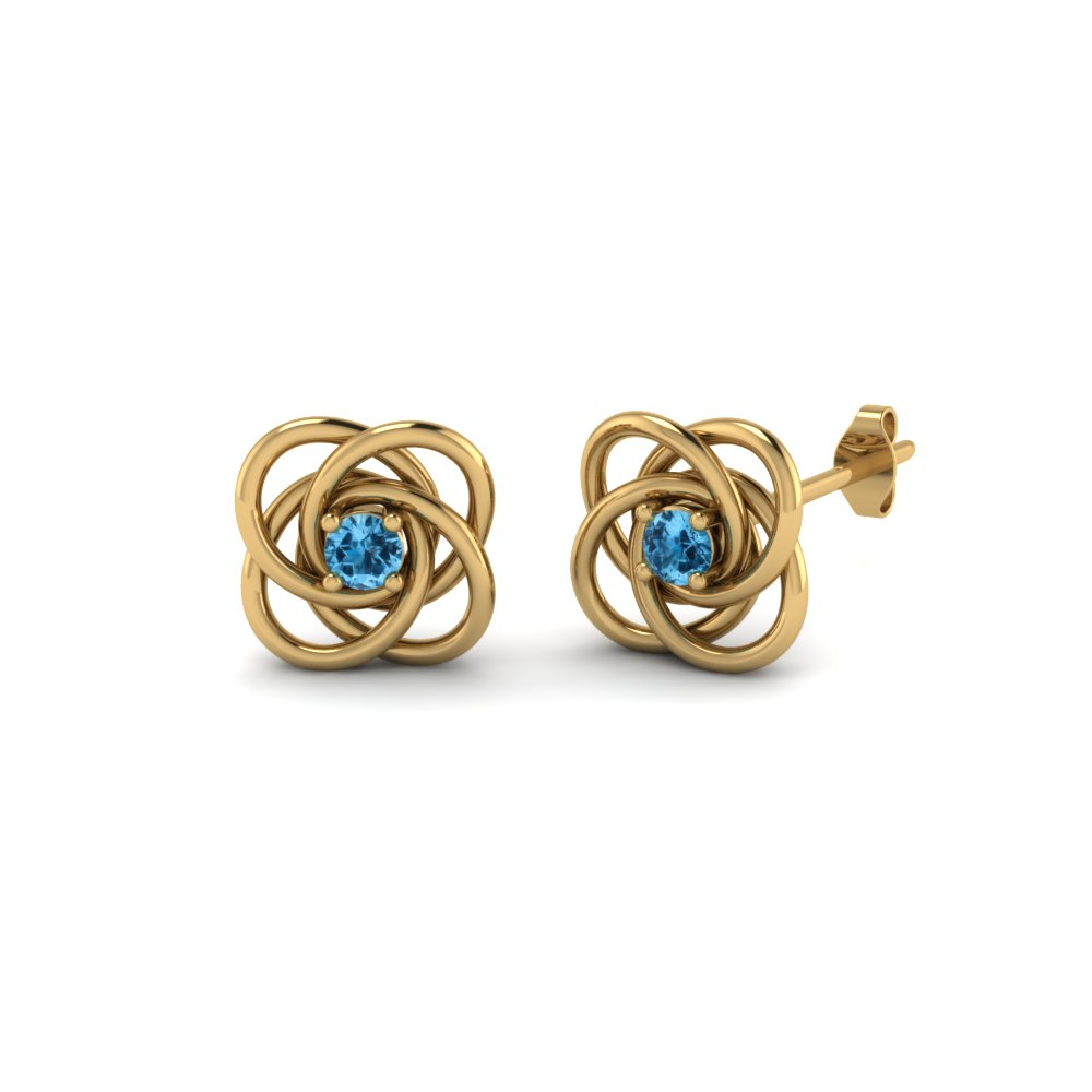 Celtic Knot Round Diamond Stud Earrings For Women With Ice Blue Topaz In 14K Yellow Gold