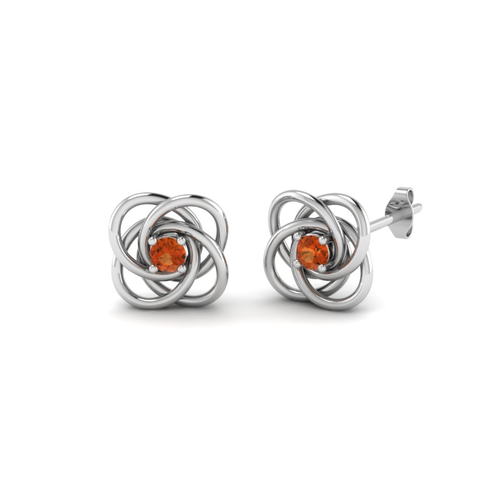 Celtic Knot Round Diamond Stud Earrings For Women With Orange Sapphire In 14K White Gold