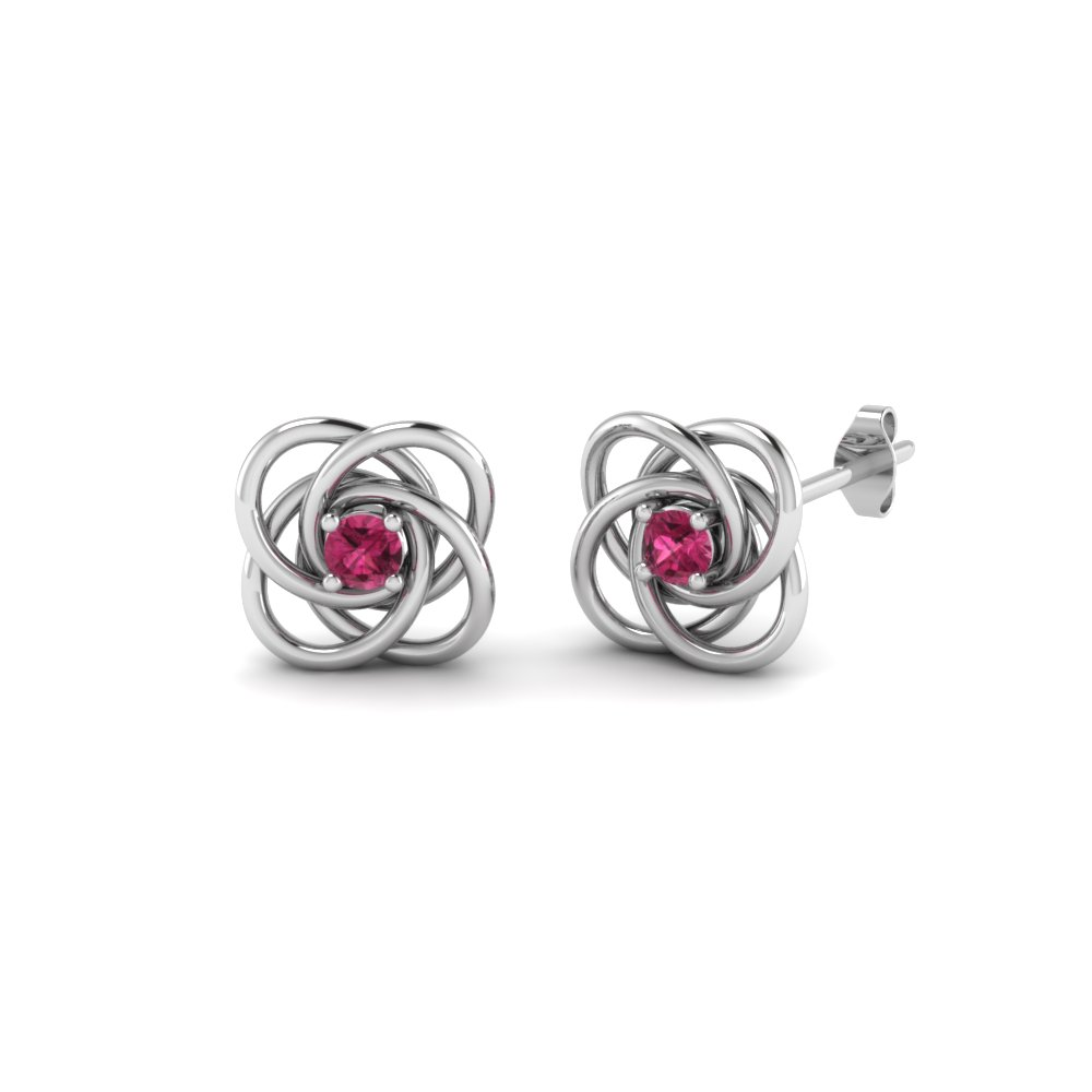 02ca7410b celtic knot pink sapphire stud earrings for women in 14K white gold  FDOEAR40006GSADRPI NL WG