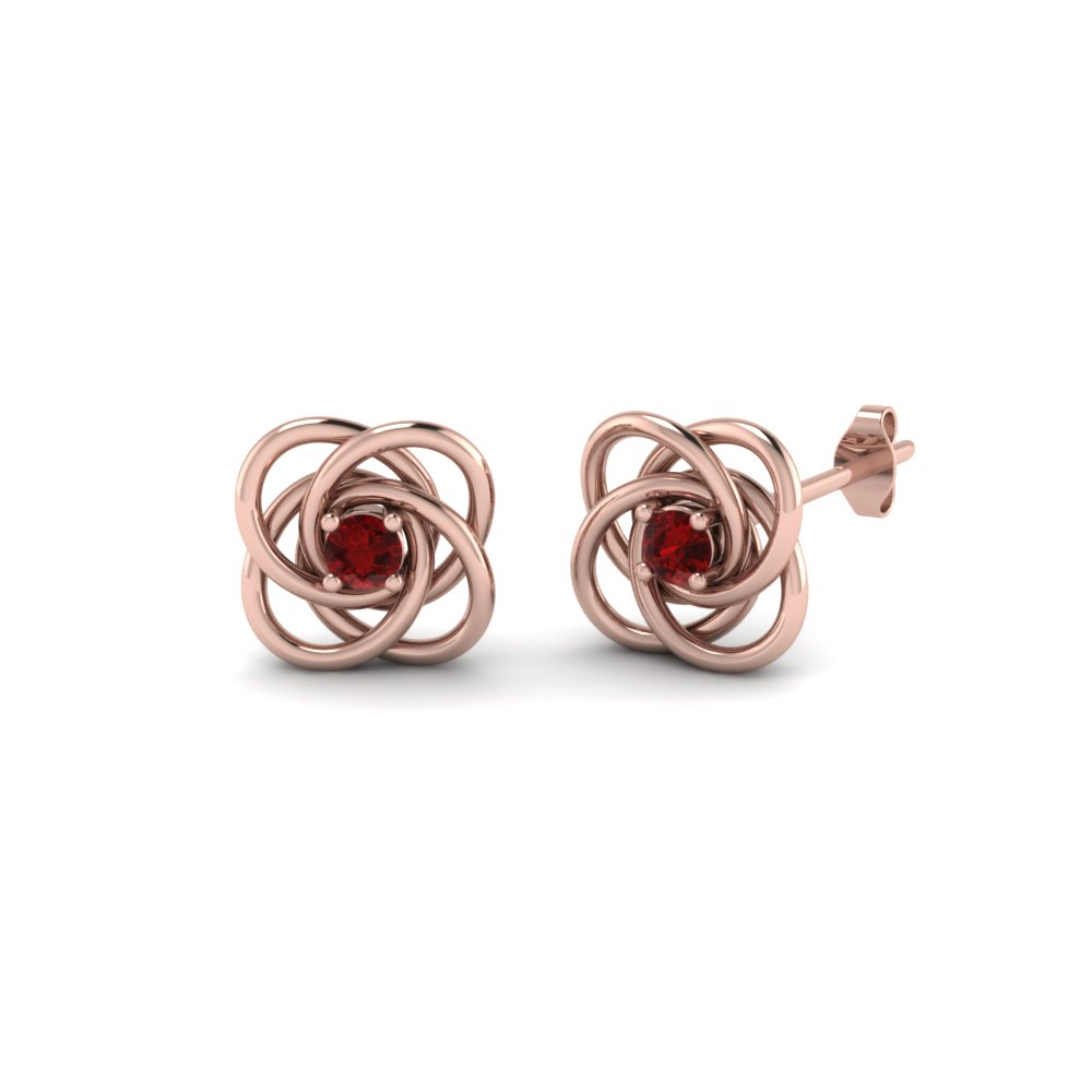 Celtic Knot Round Diamond Stud Earrings For Women With Ruby In 14K Rose Gold
