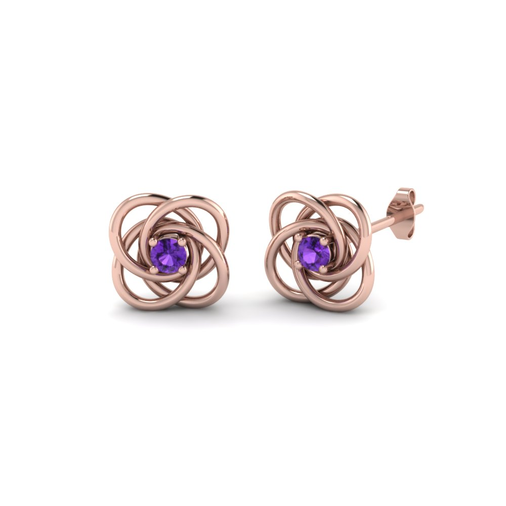 Celtic Knot Purple Topaz Earring