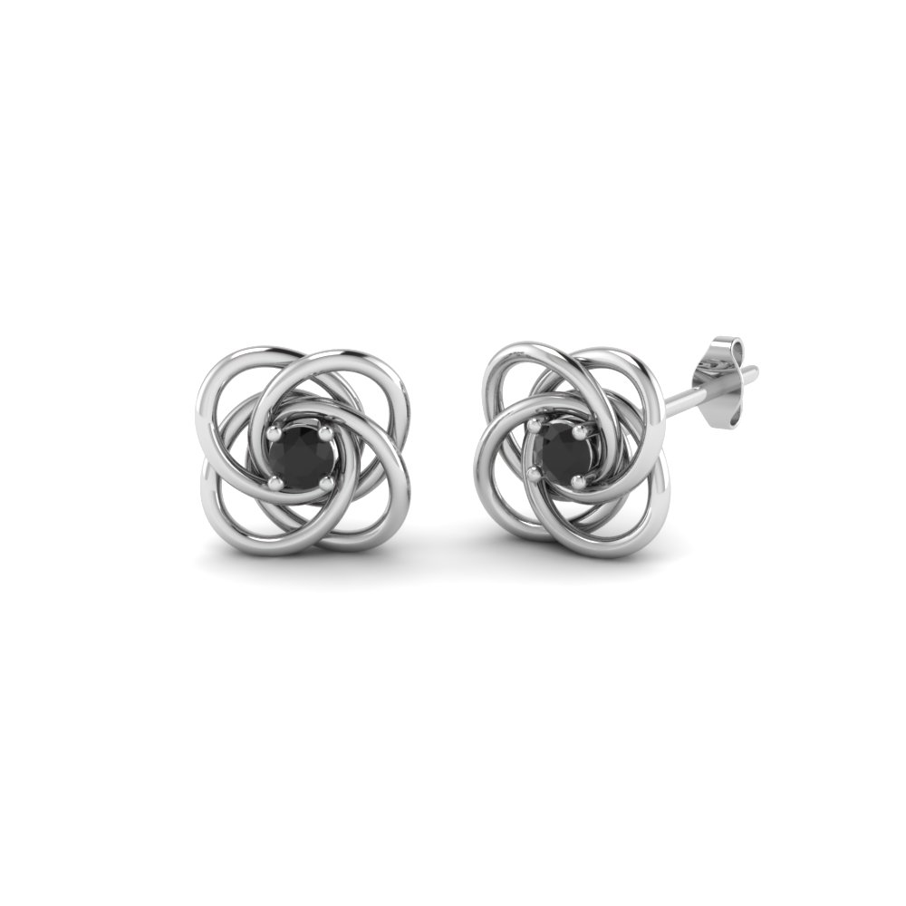 Celtic Knot Black Diamond Stud Earring In Fdoear40006gblack Nl Wg