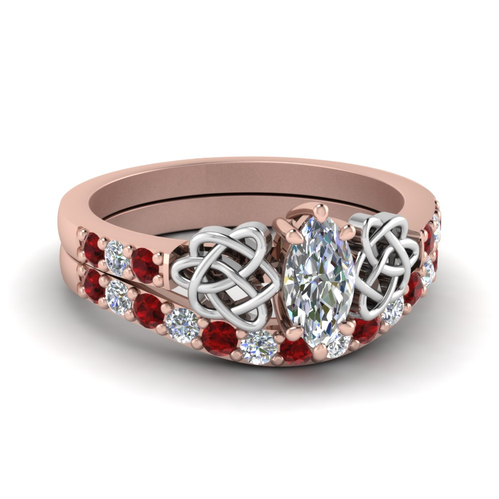 Two Tone Celtic Ruby Bridal Set