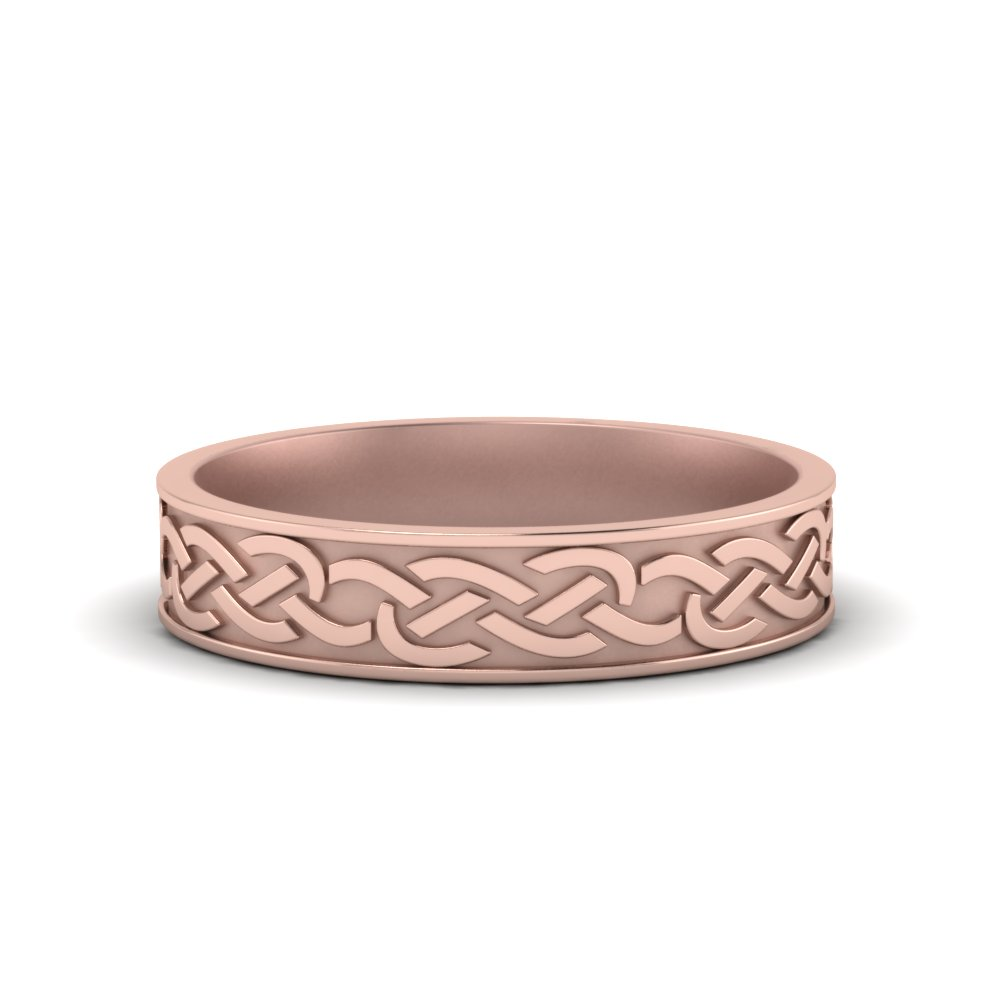 Celtic Mens Wedding Ring In 14K Rose Gold | Fascinating Diamonds
