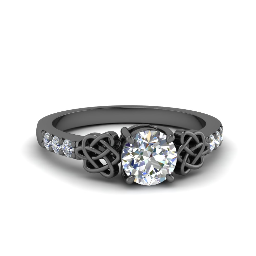 Black Gold Celtic Round Diamond Ring